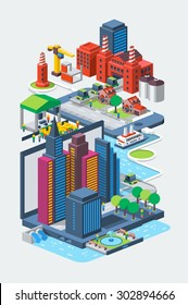 vector illustration with buildings on phone and laptop
