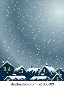 vector illustration of buildings on a winter evening with lighted windows and snowy rooftops in eps10 format