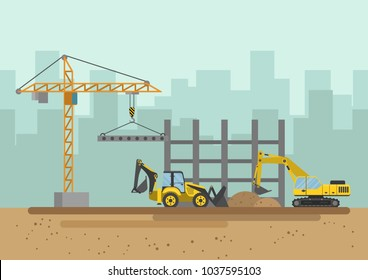 Vector illustration. Buildings and special equipment on the construction site.