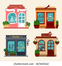 Vector illustration of buildings that are shops for buying presents. Set of nice flat shops. Different Showcases - wedding dresses, shops with women shoes on high heels, boutique, caps shop.