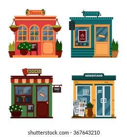 Vector illustration of buildings that are shops for buying decorations and leisure accessories. Set of nice flat shops. Different Showcases - Flowers, music, books, newsstand with sound box.