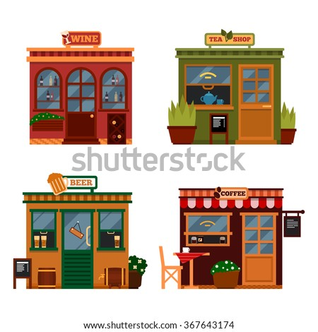 6e1240596e7 Vector illustration of buildings that are shops for buying food. Set of  nice flat shops