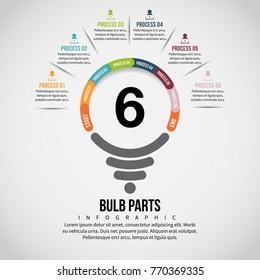 Vector illustration of Bulb Part Infographic design element.