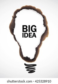 vector illustration of bulb shaped burn mark with big idea text on white background