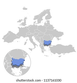 Vector illustration of Bulgaria in blue on the grey model of Europe map with zooming replica of country.