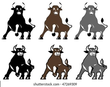 Vector illustration of bull in different colors and styles