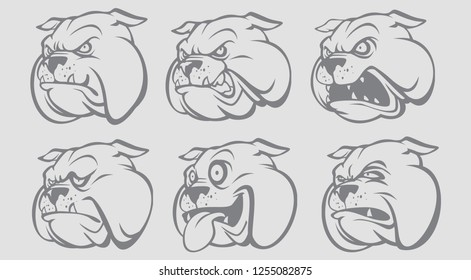 VECTOR ILLUSTRATION OF BULLDOG FACE / HEAD WITH DIFFERENT EXPRESSION