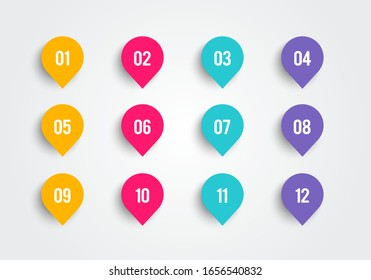 Vector illustration bullet point set. Marker in retro color. Pins with number 1 to 12.