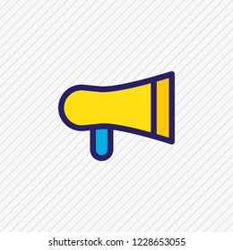 Vector illustration of bullhorn icon colored line. Beautiful contact element also can be used as megaphone icon element.