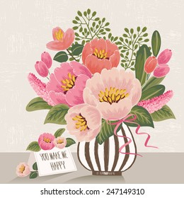 Vector illustration of a bunch of beautiful flowers in a striped vase with a card. Beige background