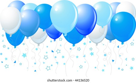 Vector illustration of the bunch of blue balloons flying up