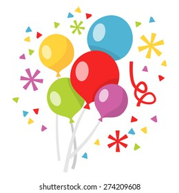 A vector illustration of a bunch of colorful balloons and confetti.