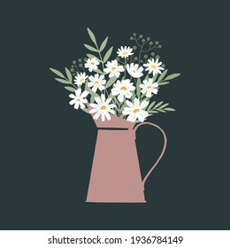 Vector illustration of bunch of fresh chamomile flowers in vintage watering can on dark background
