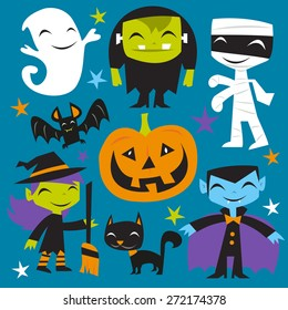 A vector illustration of a bunch of happy jolly halloween monsters and creatures. Included in this set:- ghost, frankenstein, mummy, dracula, pumpkin, bat, witch and black cat.