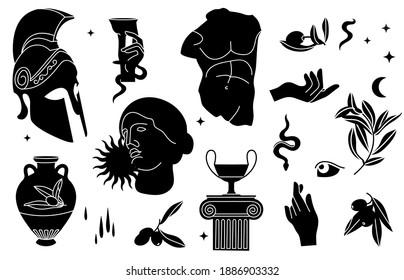 Vector illustration of bundle antique signs and symbols - statues, olive branch, amphora, column, helmet. Ancient greek or roman style elements