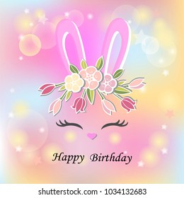 Vector illustration with Bunny ears, smiling eyes, floral wreath. Cute Rabbit as Baby shower & Easter logo, pet shop, badge. Template for Baby Birthday, Easter Day, party invitation, greeting card.