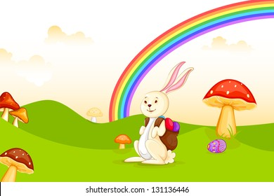 vector illustration of bunny with Easter egg in garden