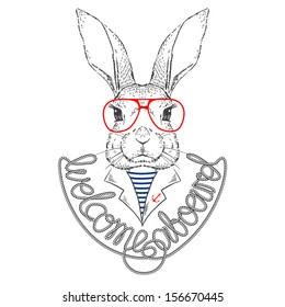 Vector Illustration of Bunny Sailor Isolated on White