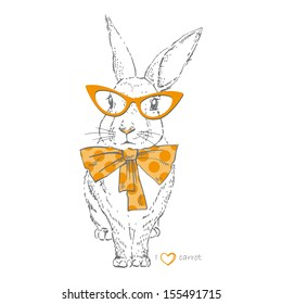Vector illustration of bunny in trendy glasses and bow isolated on white