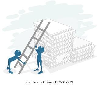 Vector illustration of a bureaucracy at work
