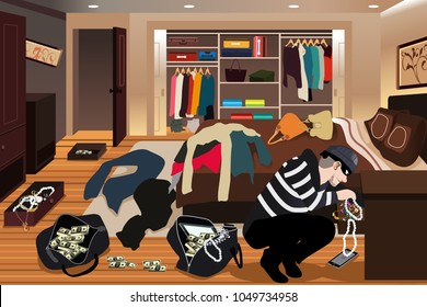 A vector illustration of Burglar Stealing From a House