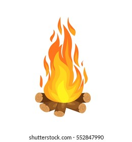 vector illustration of  burning bonfire with wood on white background