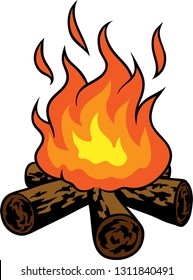 Vector illustration of burning camp fire clip art.