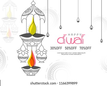 vector illustration of burning diya on  shubh Deepawali, Happy Diwali, Holiday background for light festival of India.