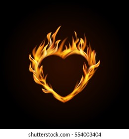 Vector illustration. Burning heart on a black background. Design for greeting card, banner, poster for Valentine's day.