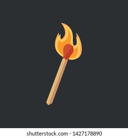 Vector illustration of a burning match in cartoon style