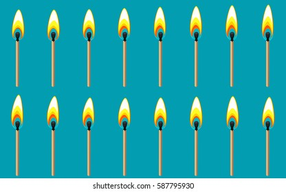 Vector illustration of burning match sprite sheet on blue background. Can be used for GIF animation
