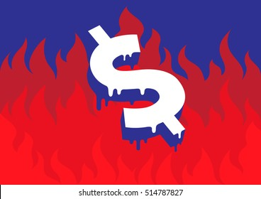 Vector illustration of a burning and melting dollar symbol in front of fire representing the economic and financial crisis in USA and the world.