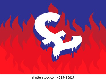 Vector illustration of a burning and melting Pound symbol in front of fire representing the economic and financial crisis in England.