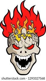 Vector illustration of a burning skull logo for t-shirt print use.