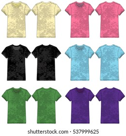 Vector illustration of Burnout/Slub style tees in various colors