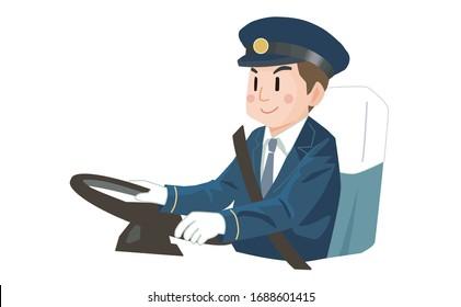 ベクターイラスト バスの運転手