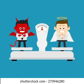 Vector illustration - Business angel and Evil on scale