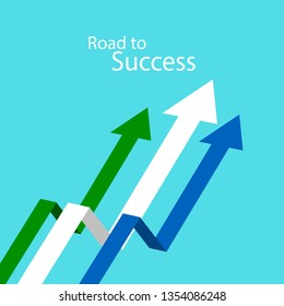 Vector illustration of business arrow target direction. Road to success concept. Finance growth vision stretching rising up. Chart increase profit. Return on investment ROI. Flat banner style.
