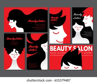 Vector illustration of business card for beauty salon featuring man and woman with various hair style in red, white and black color with minimal modern design.