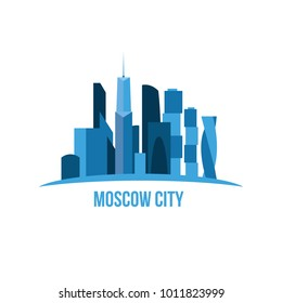 vector illustration. business center in the city of Moscow. high-rise skyscrapers in a flat style. skyscrapers moscow city