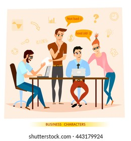 Vector illustration of business characters scene in cartoon style.Group of yang people having a business  meeting.Teamwork together