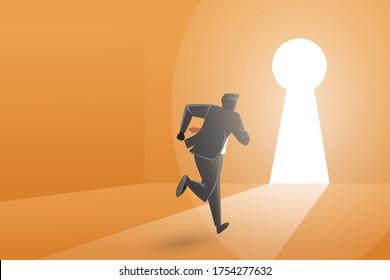 Vector illustration of business concept, a businessman running toward keyhole