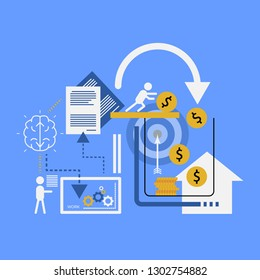 Vector illustration of business concept with businessmen are working to get money to buy houses.