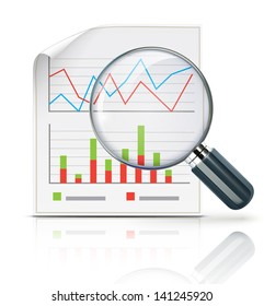 Vector illustration of business concept with finance graphs and magnifying glass