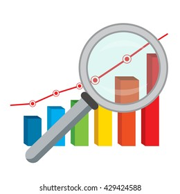Vector illustration of business concept with finance graph and magnifying glass.