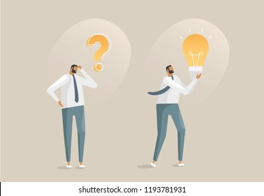 Vector illustration with business concept in flat design style. A young man thinks and finds a solution, solves a problem. The character holds the lamp in his hands. The process of the idea