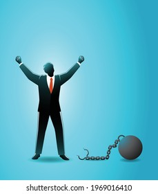 Vector illustration of business concept, happy businessman raise both hand after releasing from iron ball which chained in his feet