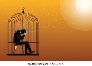 Vector illustration of business concept, man in a cage