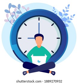 Vector illustration of business concept, business people with clock on white background, express service, time management concept, quick reaction.