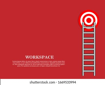 Vector illustration. Business concept, red ladder leading to target. The growth of the exchange rate. Business concept